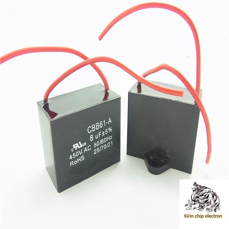 10 unids/lote CBB61 8,0 uf 450V 5% 8UF ventilador capacitancia plomo dos cables