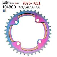 104 bcd narrow wide rainbow bicycle chainring 32343638t circular chainwheel colorful mtb bike crankset plate bicycle crank