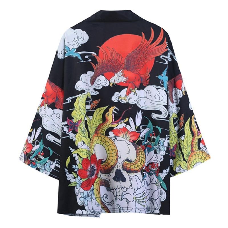 2020 nouveau 3d impression noir hommes femmes manteau ample samouraï Costume Cosplay Kimono karaté japonais mode été Kimonos Japoneses