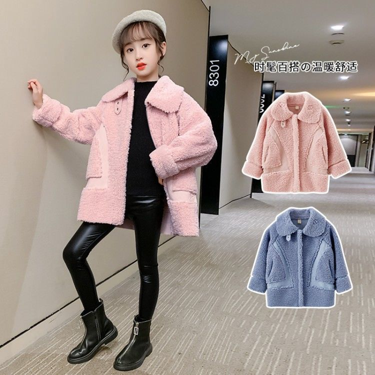 2021 Autumn Winter Girl's Coat Plus Lamb Velvet Coats Children's Clothing For Baby Girl Thick Warm Jacket Fashion Outerwear D115 enlarge