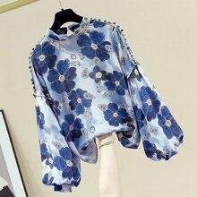 Shirt Women's Fluffy Sleeve Top 2021 Vintage Flower Print Round Neck Long Sleeve Shirt Tops  Women F