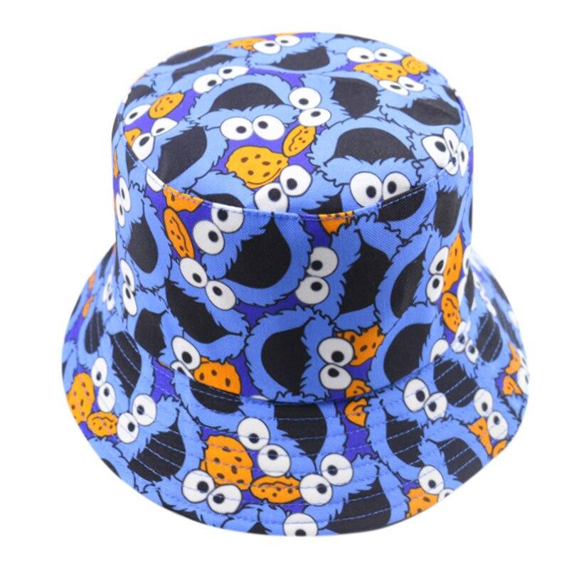 Winfox chapéu de verão do tipo bucket, chapéu bonito de desenho animado para homens e mulheres, duas tampas de pesca reversível