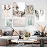 Toile de peinture en feuilles de palmier Beige style bohemien  affiche tendance imprimee  images dart murales pour decoration interieure de la maison