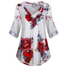 25 # Knop Vintage Blouses Vrouwen Casual Plus Size Lange Mouwen Flora Gedrukt V-hals Pullover Zomer Tops Shirt Женские Свитера