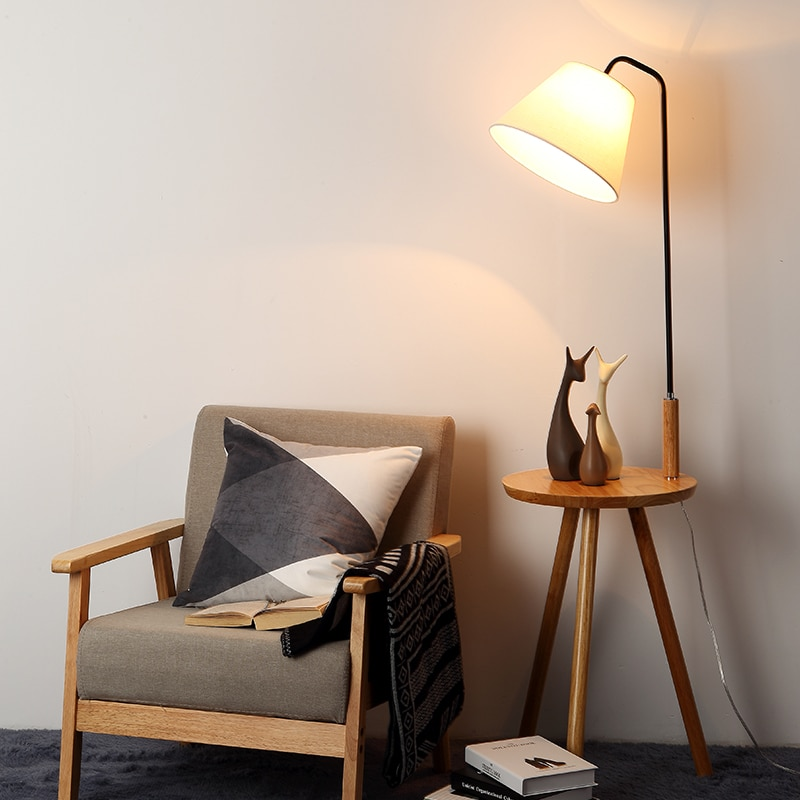 madeira nordico conduziu a lampada de assoalho moderna prateleira lampada de assoalho