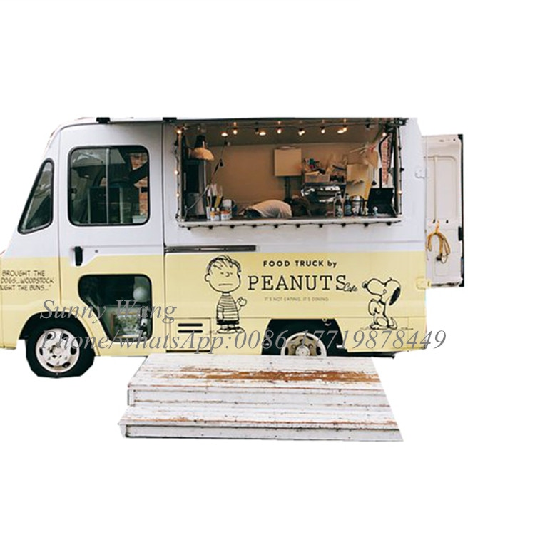 Remolque móvil retro personalizado para alimentos/carrito eléctrico para helados/carrito de comida vintage para hot dog