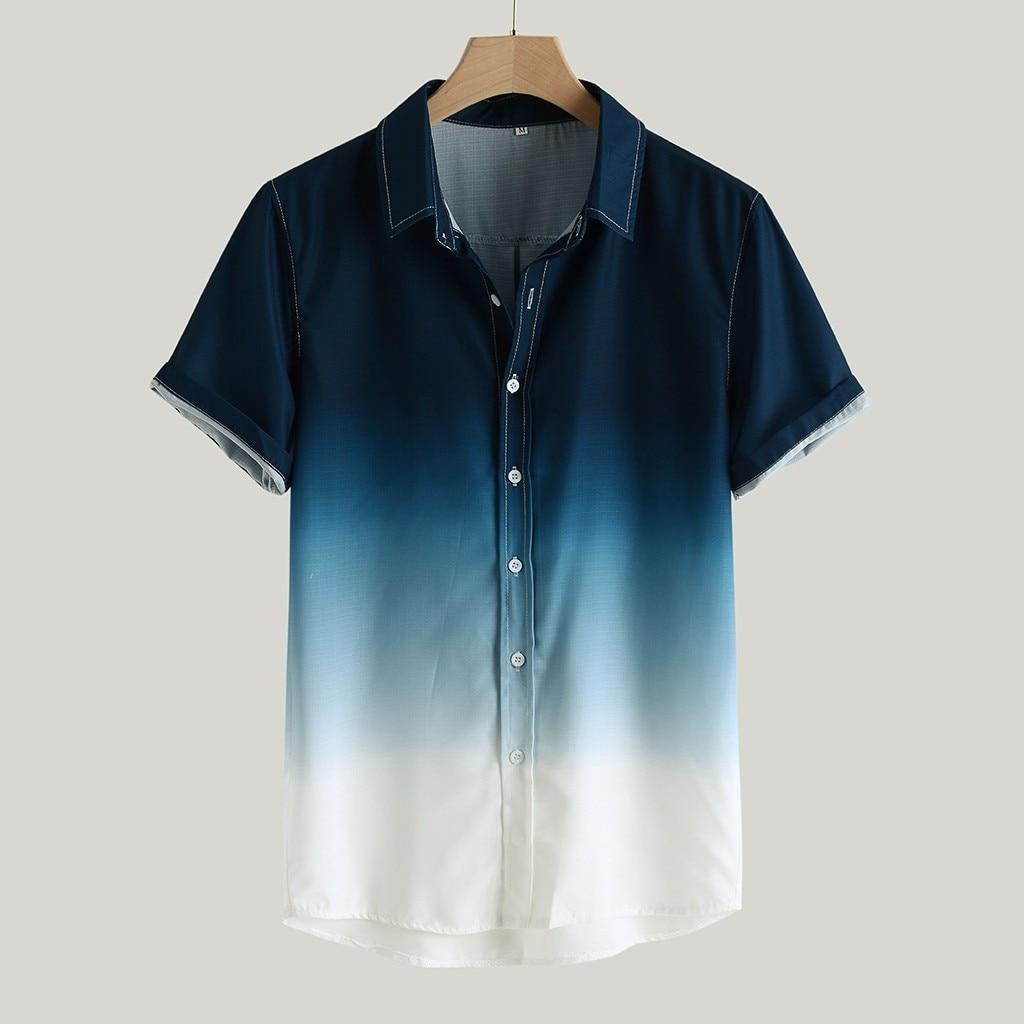 Рубашка мужская с градиентным переходом цвета, Повседневная блуза с короткими рукавами и отложным воротником