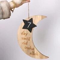Note de Message de compte a rebours en bois Eid Mubarak  tableau noir de Ramadan  artisanat en bois  decoration de salon de maison en forme de lune