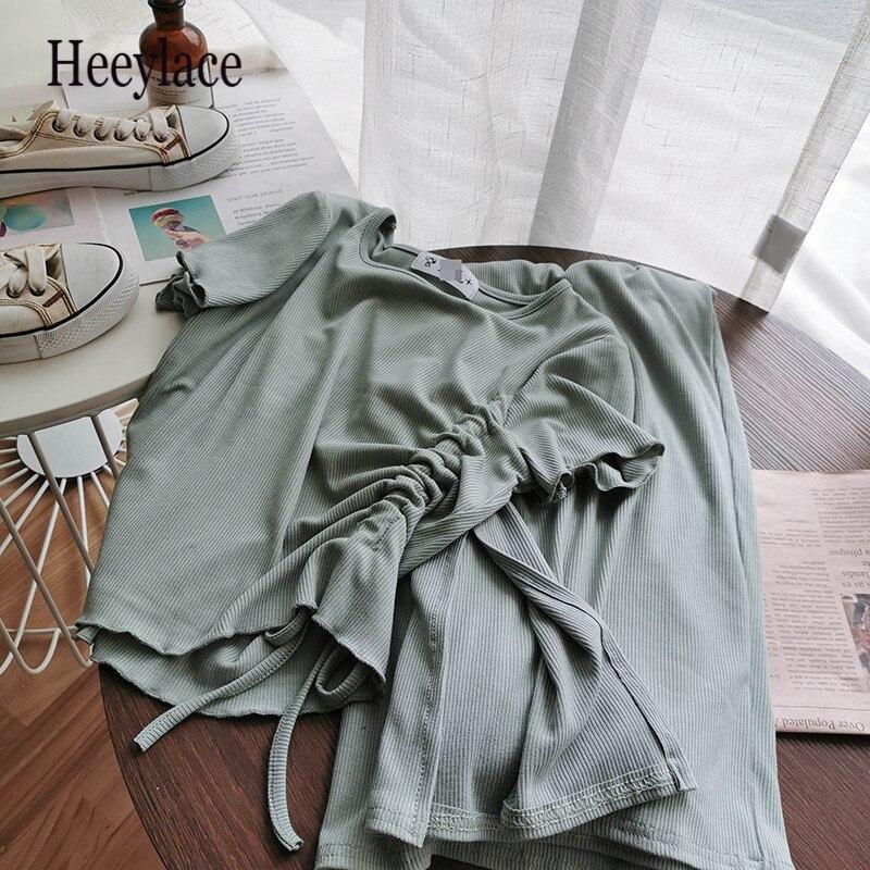 Conjunto de ropa deportiva de verano para mujer, Tops plisados laterales + Pantalones anchos sueltos, conjunto de dos piezas para mujer, conjunto Sexy de playa