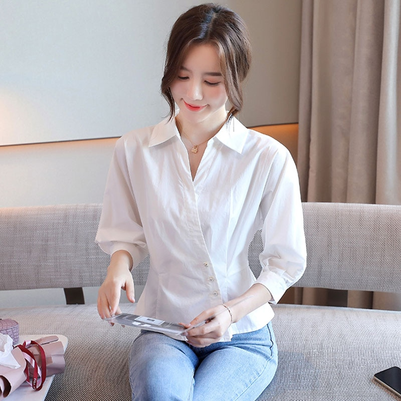High Quality White Shirt Women Spring Summer 2021 Three Quarter Sleeve Elegant Short Tops And Blouses Womens New Arrival