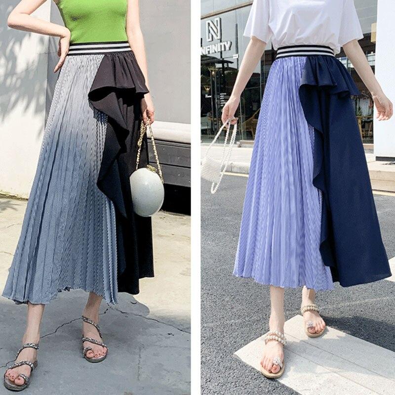 Falda larga plisada con volantes irregulares de las mujeres de retazos cintura elástica una línea falda femenina 2020 otoño nueva moda Maxi Bottoms