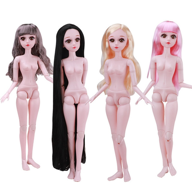 21 Movable Joint 60 CM 1/3 BJD Doll 3D Eyes Blue Brown Black Long Straight Hair Female Body Nude Fashion Dress Up Girl Toy Gift new 21 movable joint 60cm bjd doll 3d eyes long wig detachable hair cover 1 3 fashion dress up body doll girl toy christmas gift
