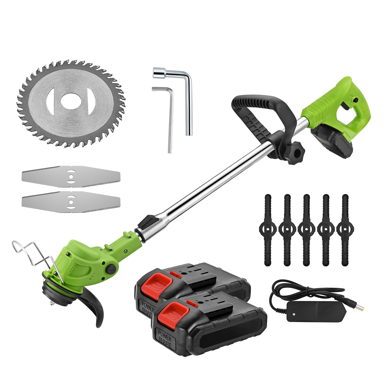 Electric Cordless Hedge Trimmer for Grass Brush Cutter Lawn Mower 21V Li-ion Battery 180° Head Angle Telescopic Pole Garden Tool