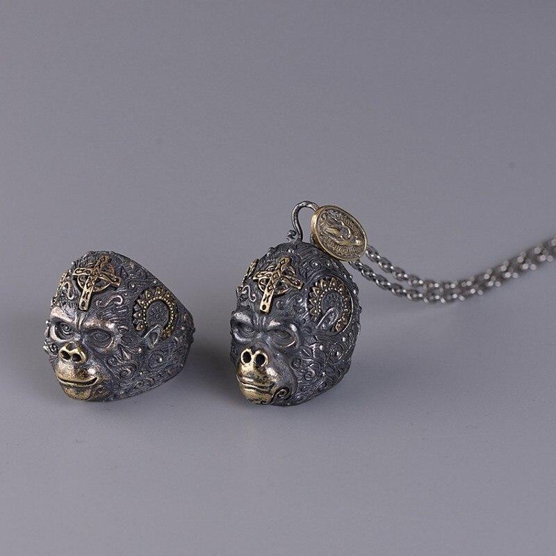 جديد S925 الفضة النقية مجوهرات التايلاندية الفضة الرجال خاتم الملك كونغ الغوريلا خاتم الموضة للرجال