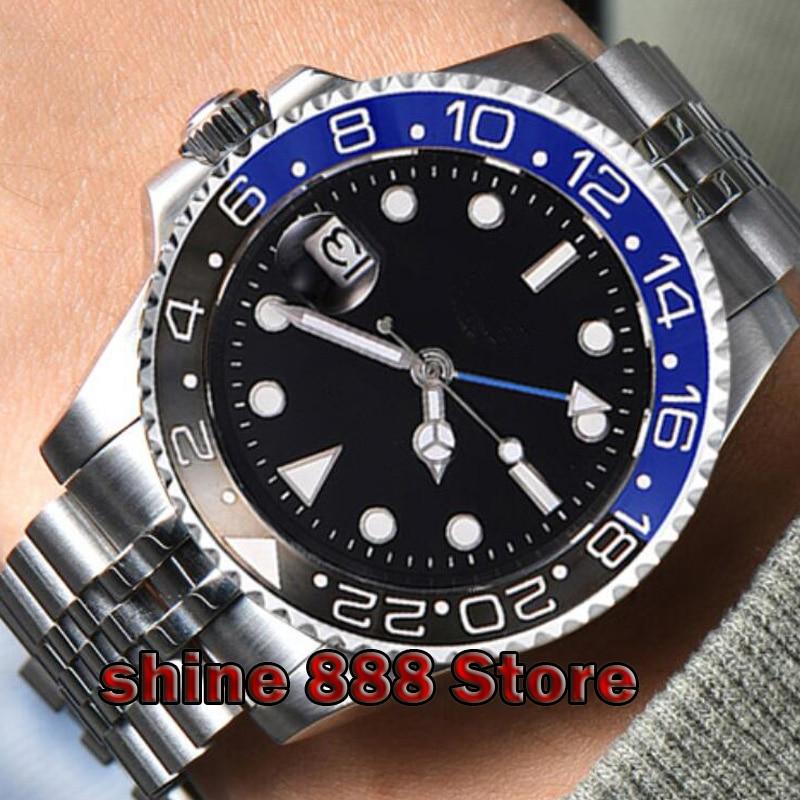 40mm PARNIS black sterile dial Men Wristwatch ceramic bezel Jubilee Mechanical Watches Sapphire Blue GMT automatic mens watch