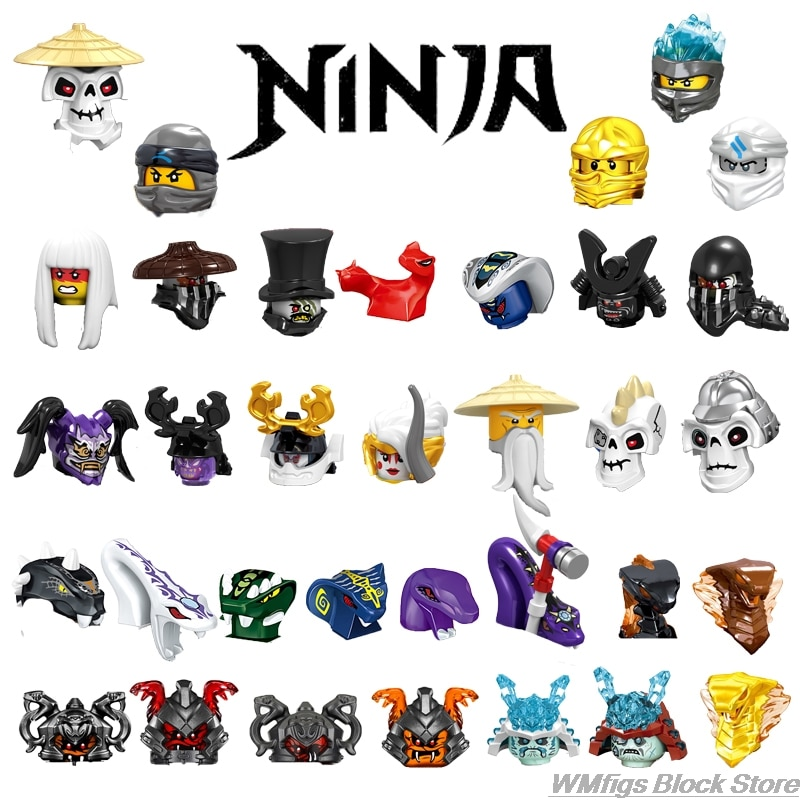 Ninja Series charactersMaster Wu Qingmei Head fitting Mr E Jay Kou Kay Lloyd Basilisk Skeleton Figures Building block Toys Child