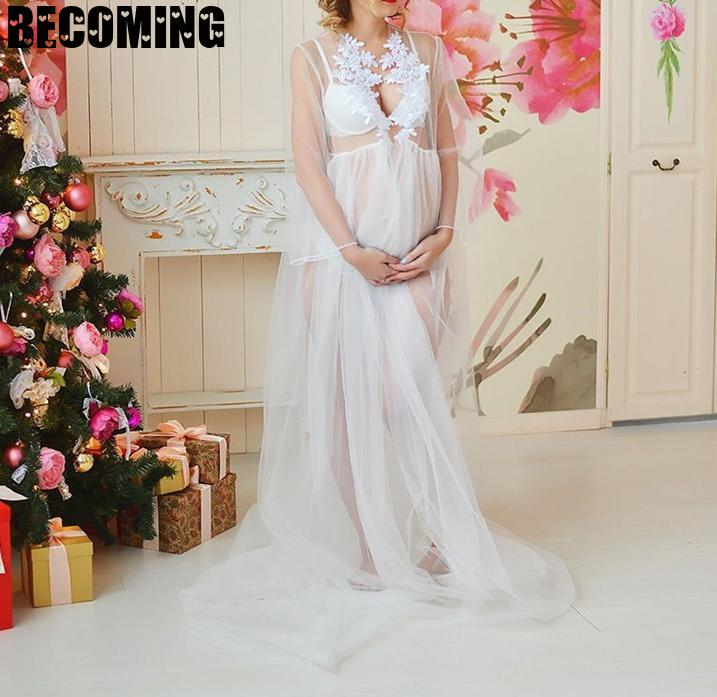 Maternity Dress For Photo Shoot Sexy Maxi Patchwork white Pregnant Dresses For Women plus size Pregnancy Dress For Photo Shoot enlarge