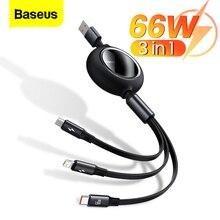 Baseus 3 в 1 USB кабель для iPhone 12 Pro Тип C Micro USB C кабель 66 Вт Быстрая зарядка для Xiaomi Samsung выдвижной кабель для передачи данных