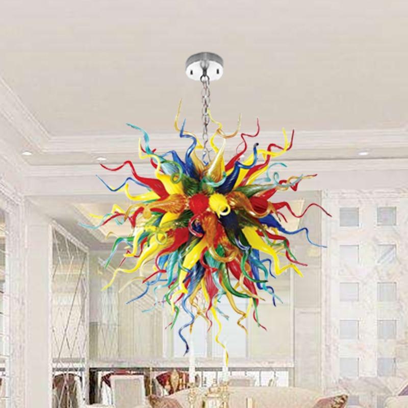 مصابيح الفن الحديث متعدد الألوان كرات مصباح 100% الفم في مهب زجاج مورانو نمط أضواء الثريا