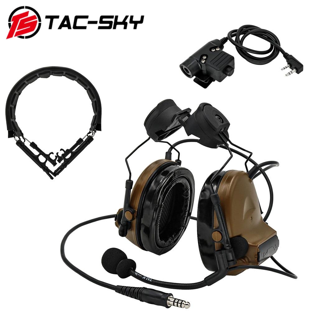 TAC-SKY COMTAC II خوذة القوس طبعة التكتيكية وسماعة رأس عسكرية التكتيكية PTT u94ptt وسماعة Peltor Comtac