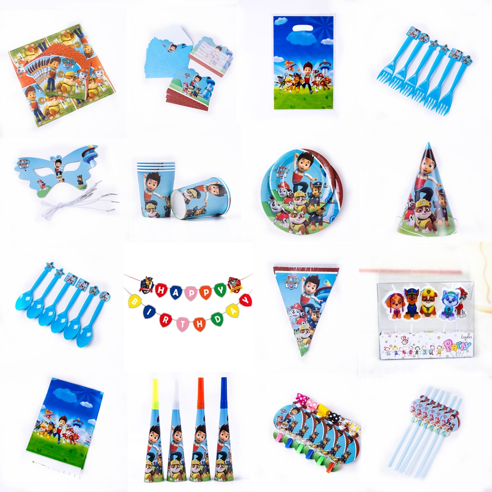 Paw Patrol Красный Дизайн Мальчики День рождения украшения Воздушные шары бумажные стаканчики и тарелки Baby Shower Одноразовые столовые принадлежности