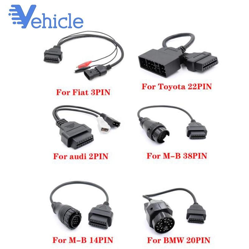 Para Audi para MB para BMW para FIAT para toyota Coche de época adaptador de Cable de diagnóstico 16pin OBD2 OBDII escáner