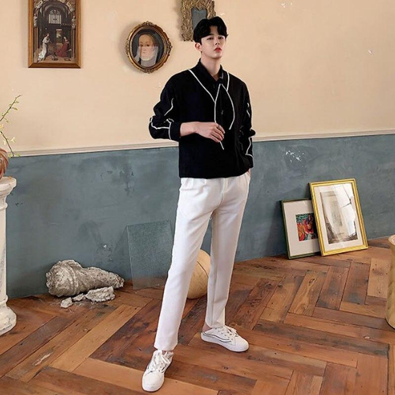 Homens gravata colarinho manga longa de pulôver camisas masculino vintage moda streetwear vestido camisas palco mostrar roup