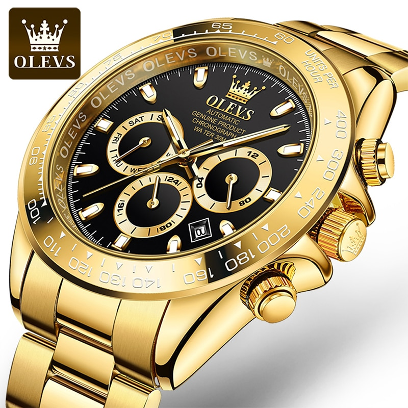 OLEVS New Men's Green Water Ghost Automatic Mechanical Large Dial Luminous Fall Resistant Scratch Stainless Steel Watches 6638 enlarge