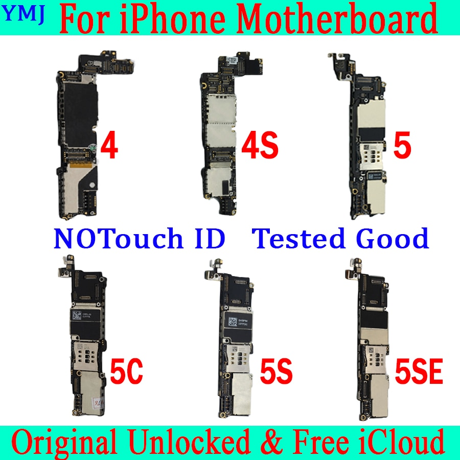 Para iphone 4 4S 5 5C 5S SE placa base sin Touch ID,Original desbloqueado para iphone 5S placa base sin Touch ID con Sistema IOS