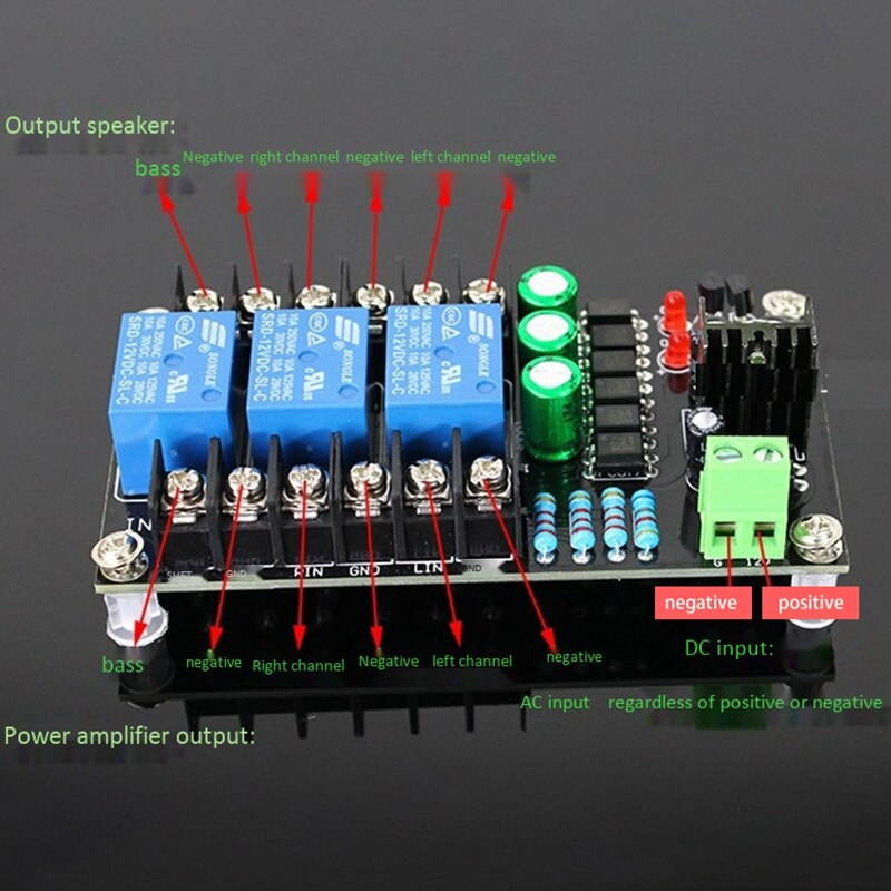 300W Digital Amplifier Speaker Protection Board 2.1 Channel Relay Speaker Protection Module Boot Delay DC Protect enlarge