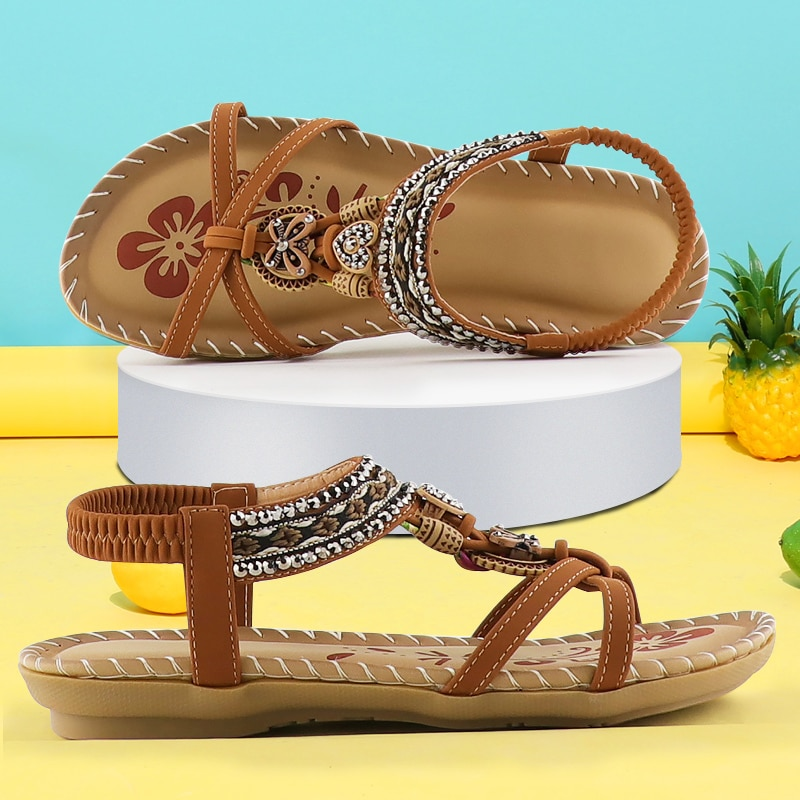 Women's Sandals Retro Fashion Flower Print Sewing Shoes Rhinestone Design Summer Sandals Soft Elastic Band Sandals Walking
