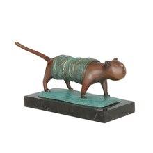 Estatua de gato abstracto de bronce, figura antigua, obra de arte, escultura de Animal para estudio, decoración para habitación de niños, presente