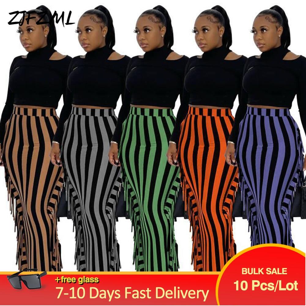 Bulk Items Wholesale Lots Cute Striped Print Fitness Party Skirt Side Tassels High Waist Pencil Skirts Vintage Birthday Skirt