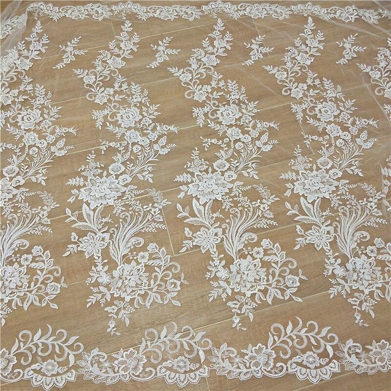Nuevo encaje de lentejuelas francés tela bordada flor vestido de boda DIY accesorios de costura RS2713