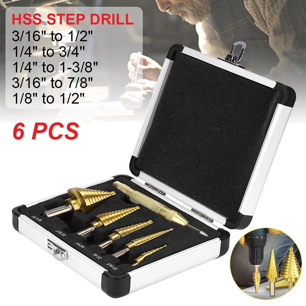 HSS Titanium Coated Step Drill Bit 6 Steps 3/16 to 1/2 9 Steps 1/4 to 3/4'' 10 Steps 1/4 to 1-3/8 12 Steps 3/16 to 7/8