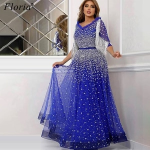 Plus Size Blue Beading Prom Dresses Party Dubai Tassels Half Sleeves Evening Dresses Kaftans Couture Beach Women Gowns Robes