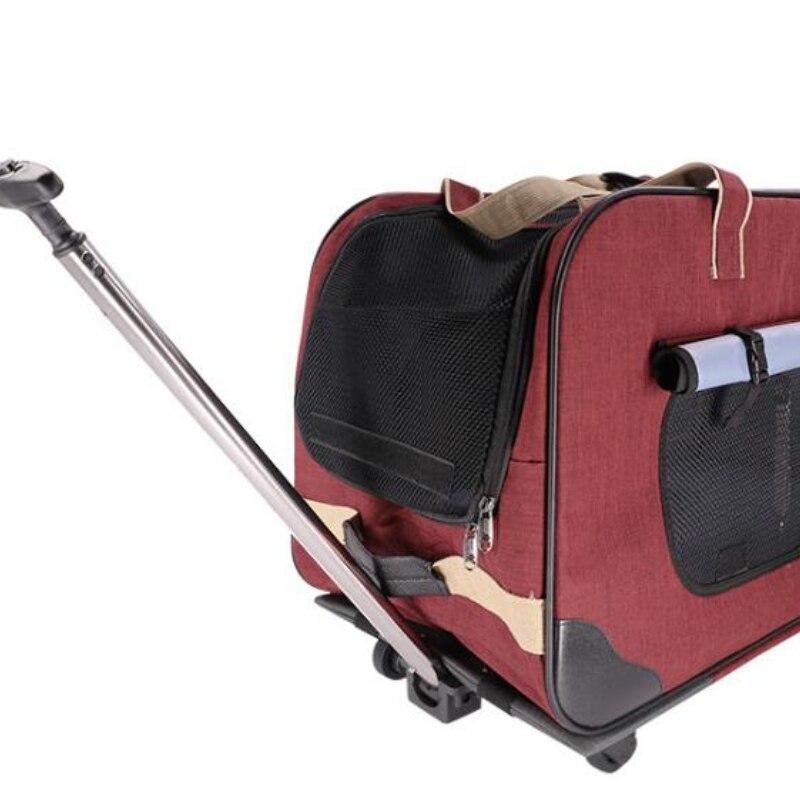 H-Pet-carrito plegable de cuatro ruedas para perro... maleta para gato bolsa de...