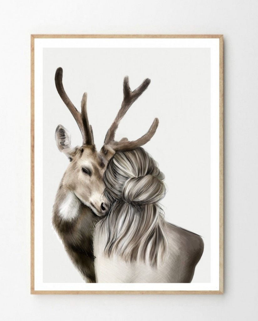 Cat and Deer with Woman Wall Art Canvas Painting Nordic Posters Caring for animals Wall Pictures For Living Room Unframed  - buy with discount
