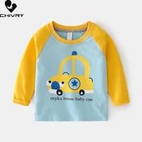 2021 spring autumn kids boys t shirt cute cartoon car print long sleeve baby t shirts o neck cotton children sweatshirt tops