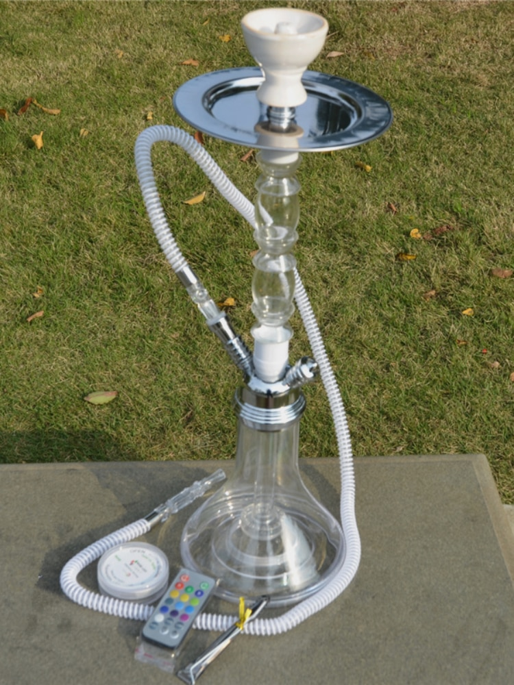 Acrylic kazimba suit with LED lamp, water pipe with ceramic bowl, silicone hose and metal cigarette holder enlarge