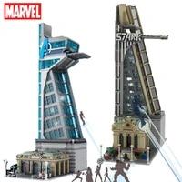 5883pcs upgrad 8 floors marvel avengers tower tony heroes irons thanos captian thor stark man building block brick kid gift toy