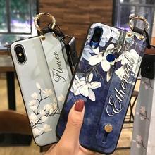 Étui de téléphone lanière pour Meizu Note 9 6.2 pouces fleur série délicate peint en Silicone housse antichoc support de téléphone