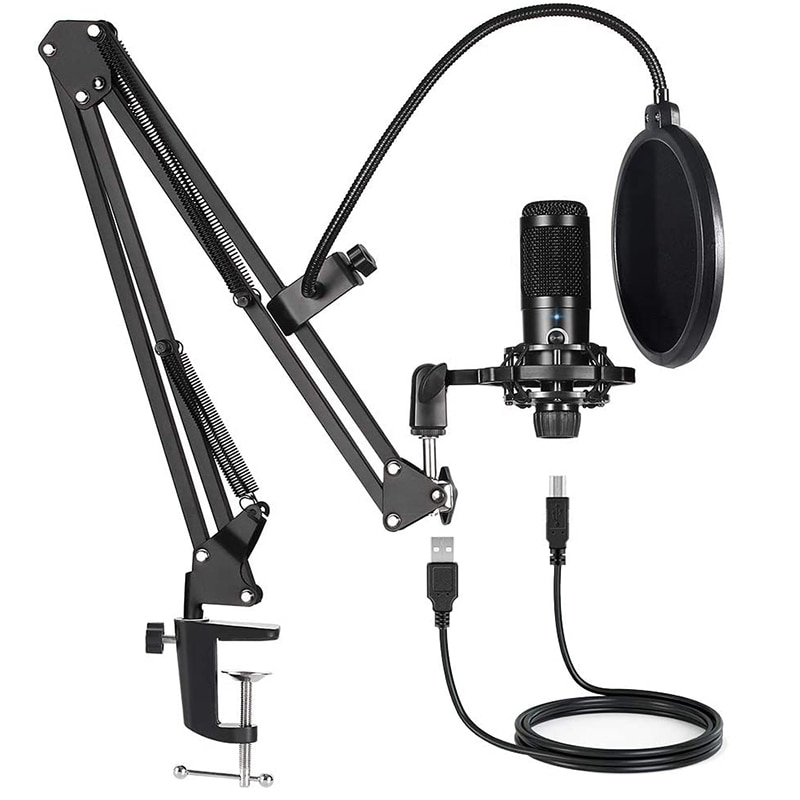 USB Computer Condenser Microphone Kit With Adjustable Scissor Arm Stand for PC YouTube Video Gaming Streams Studio