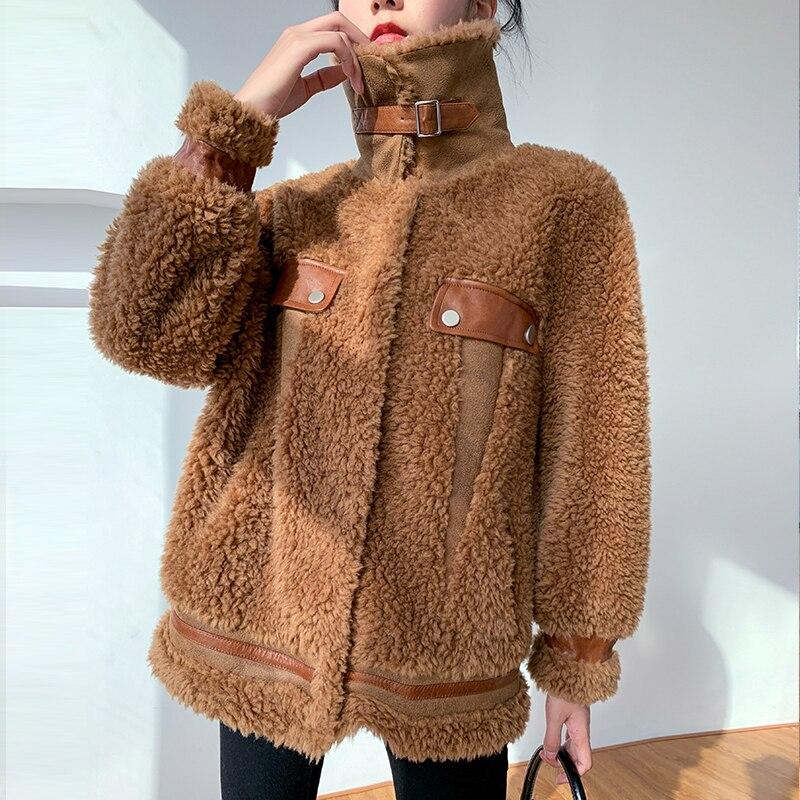 Tcyeek 2020 abrigo de piel auténtica de Invierno para mujer, abrigo corto Vintage de oveja vaporosa, abrigo de calle, abrigo de piel, chaquetas de lana de 100%, Hiver 991