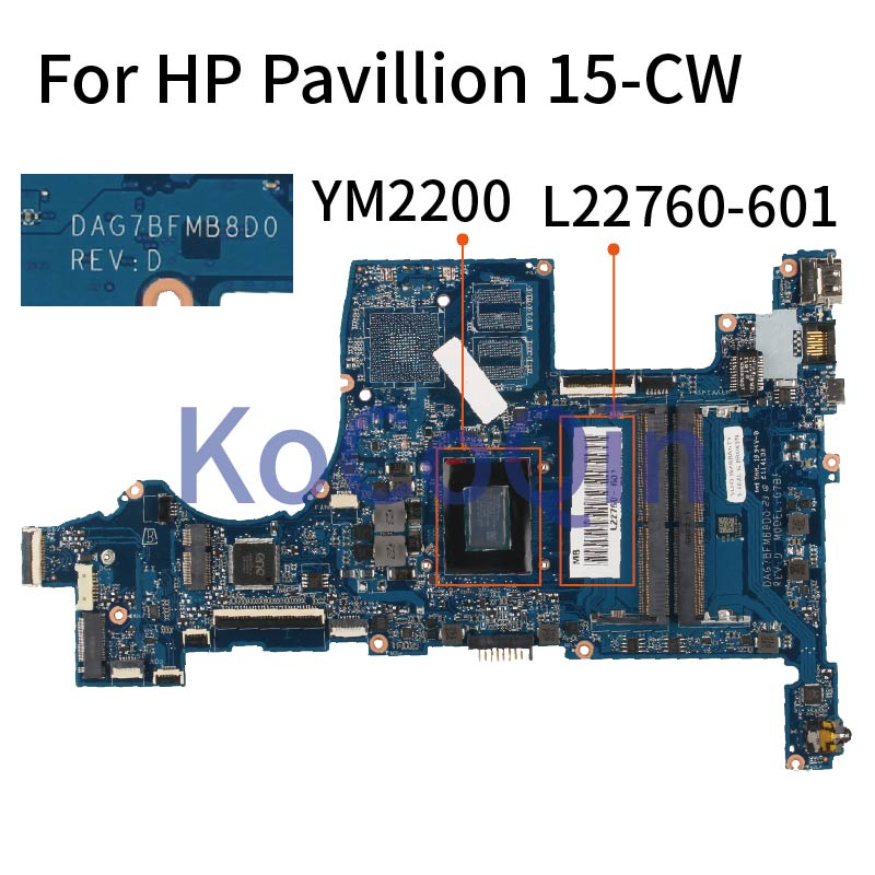 Placa base de ordenador portátil KoCoQin para HP Pavillion 15-CW YM2200, placa base L22760-601 DAG7BFMB8D0 DDR4