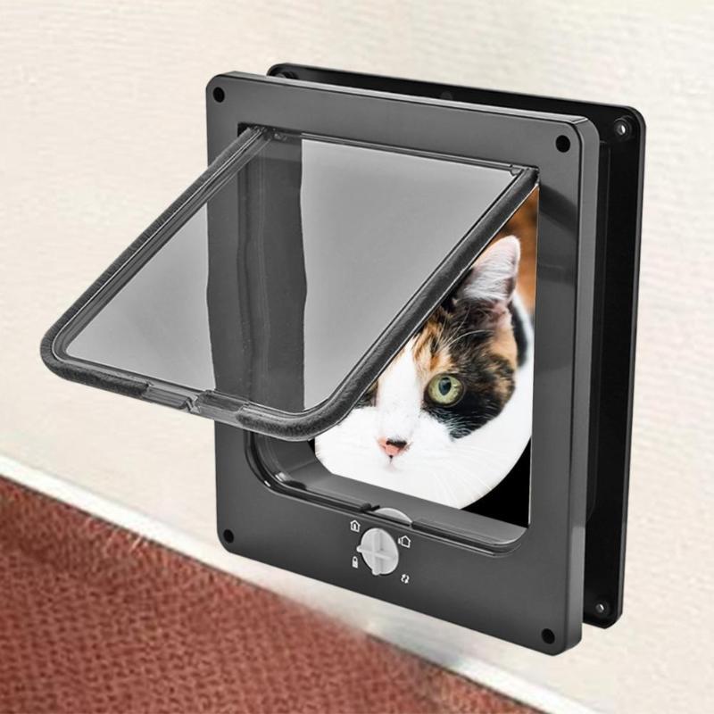Porta aba para gato com fechadura de 4 vias, porta com aba para cão e gato pequeno, kit para porta de animais de estimação porta porta