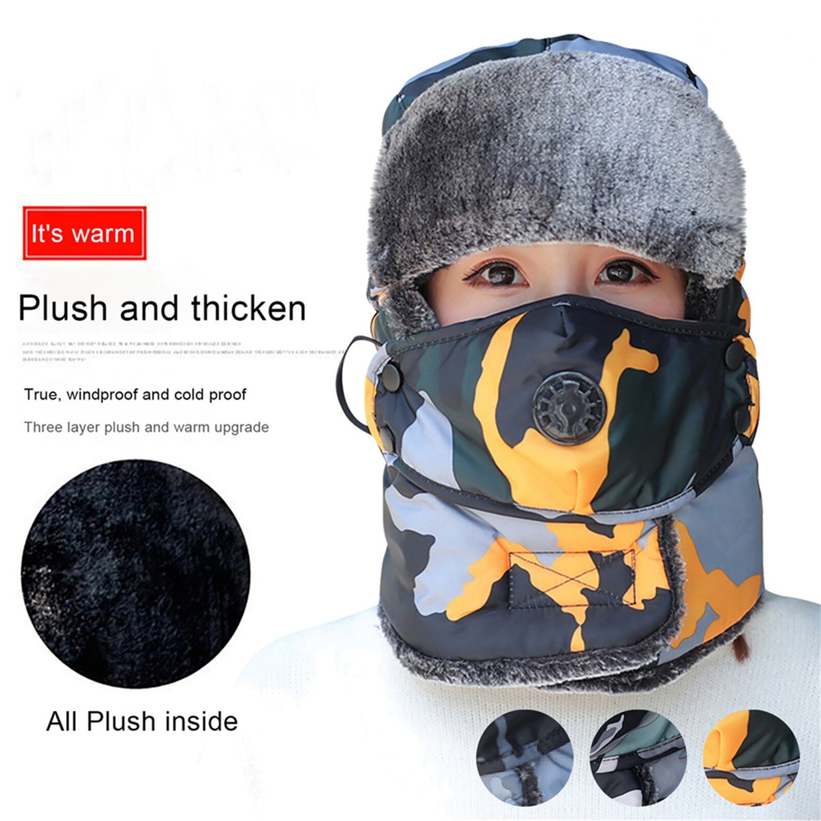 Adults Autumn Winter Warm Thicken Outdoor Cycling Windproof Protection Face Mask Fashion Camouflage