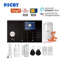 Systeme de securite domestique intelligent Tuya  wi-fi  GSM  anti-cambriolage  anti-intrusion  appel automatique  controle a distance via application mobile  ecran tactile sans fil