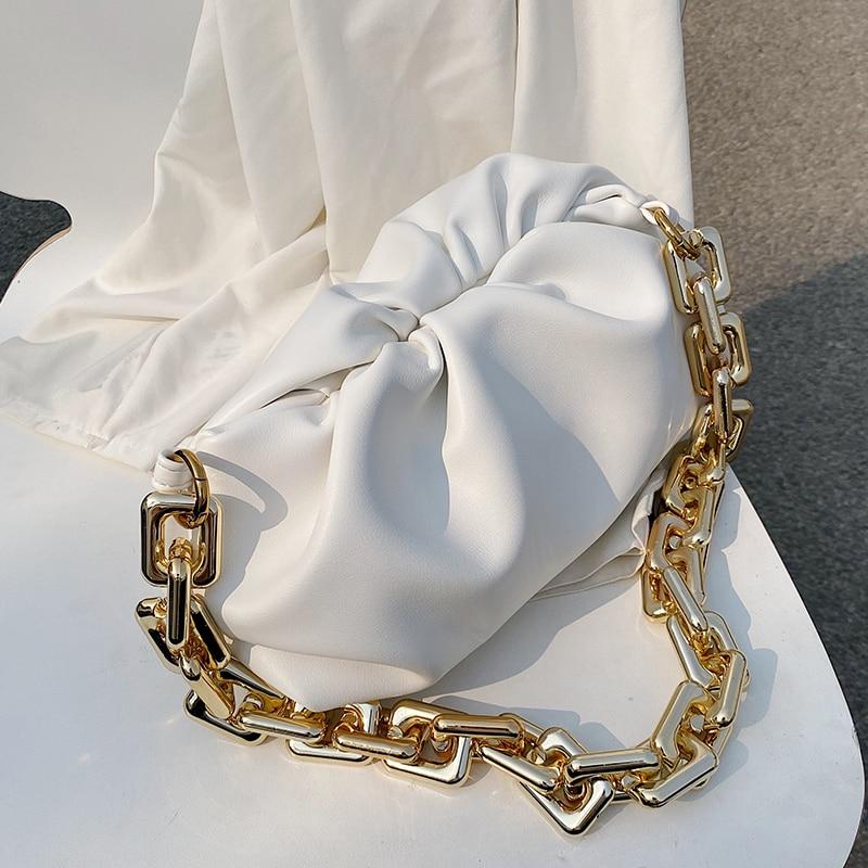 Solid Color Pleated Tote Bag 2021 Fashion New High-quality Soft Leather Women's Designer Handbag Travel Shoulder Bags Armpit Bag