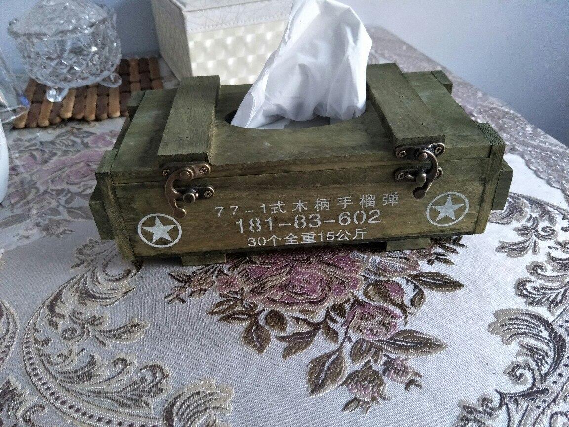 العسكرية مروحة جمع الأنسجة صندوق شخصية ميزات خشبية مصغرة رسم صندوق نمط العسكرية هدية